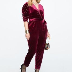 Eloquii Velvet Pleated Jumpsuit size 14